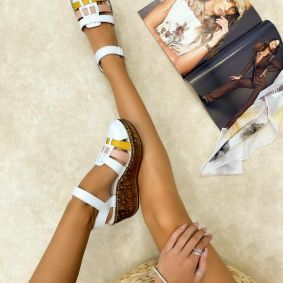 Leather sandals AIDA - WHITE