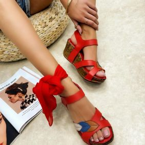 Leather sandals MARIORA - RED