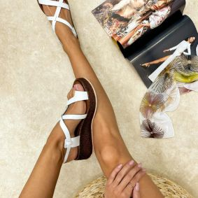 Leather sandals RIBH - WHITE
