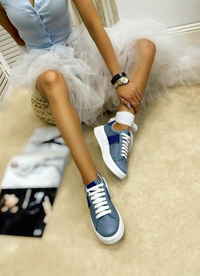 Leather sneakers EMMA - BLUE