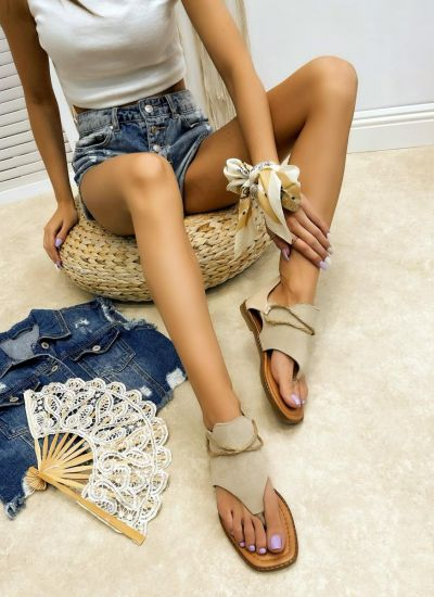Leather sandals LINI - BEIGE