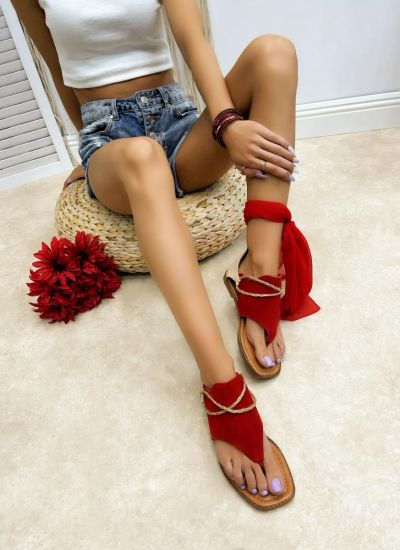 Leather sandals LINI - RED