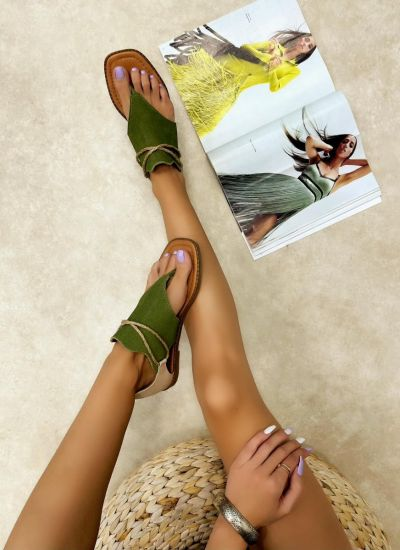 Leather sandals LINI - GREEN