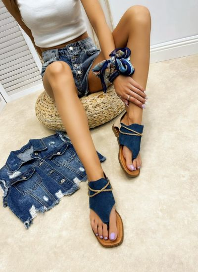 Leather sandals LINI - NAVY