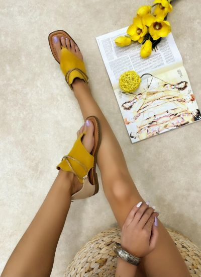 Leather sandals LINI - YELLOW