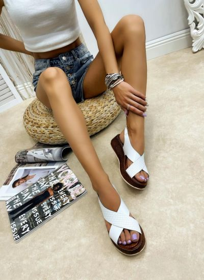 Leather sandals YATING - WHITE