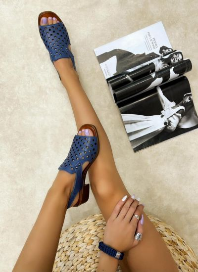 Leather sandals ROMA - BLUE