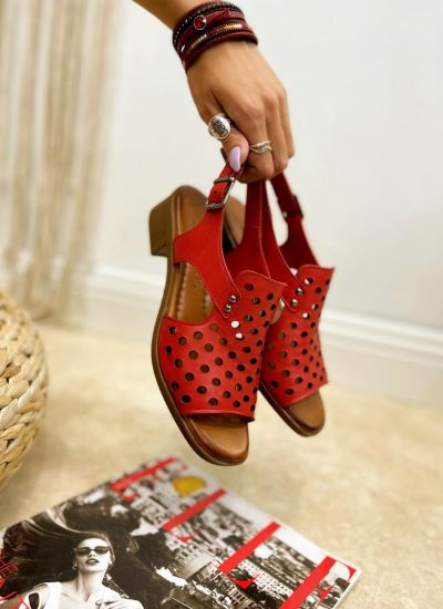 Leather sandals ROMA - RED