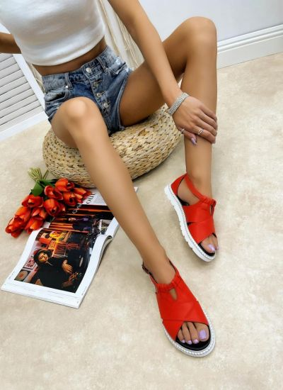 Leather sandals AYESHA - RED