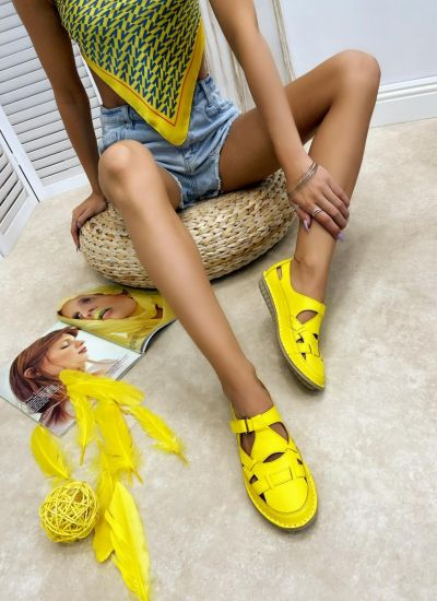 Flat leather shoes ROSHAN - YELLOW