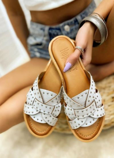 Leather slippers CARRIE - GREY