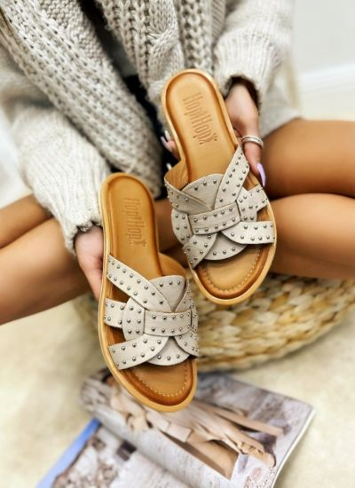Leather slippers CARRIE - BEIGE