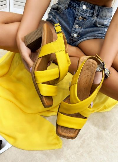 Leather sandals LEILAH - YELLOW