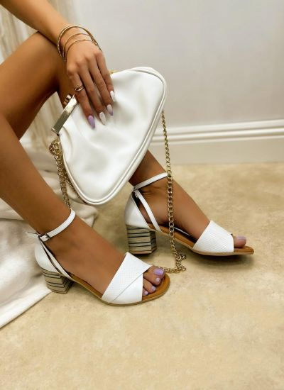 Leather sandals FIROZA - WHITE