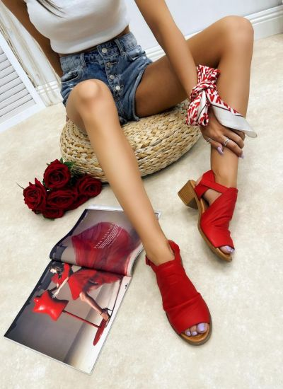 Leather sandals ZOPHIA - RED