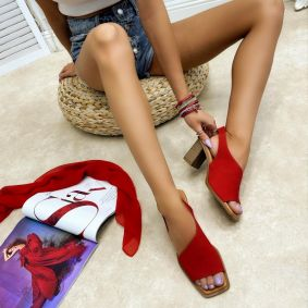 Leather sandals PUJITA - RED