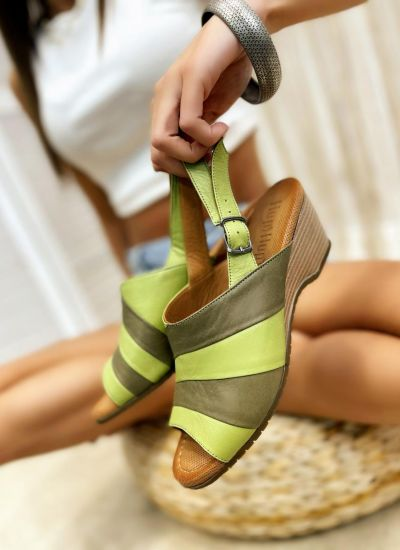Leather sandals BREIGH - GREEN