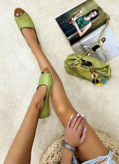 Leather sandals LEMAR - GREEN