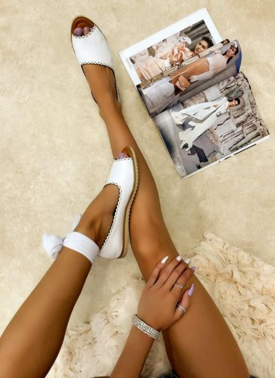 Leather sandals LEMAR - WHITE