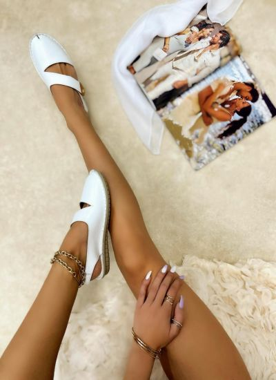 Leather sandals SIDRAH - WHITE
