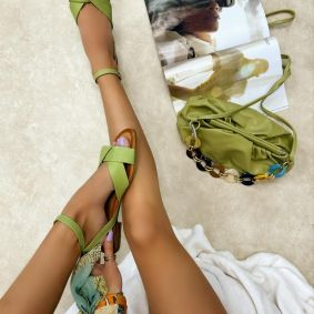Leather sandals SKY - GREEN