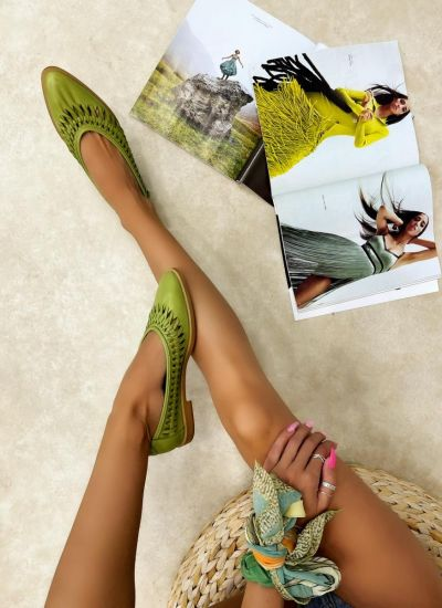 Leather ballet flats LAVIN - GREEN