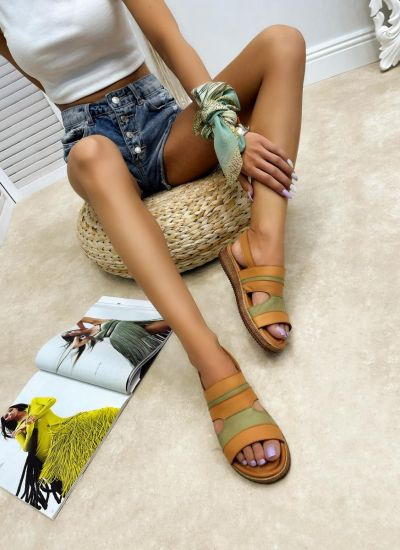 Leather sandals CIARIA - GREEN