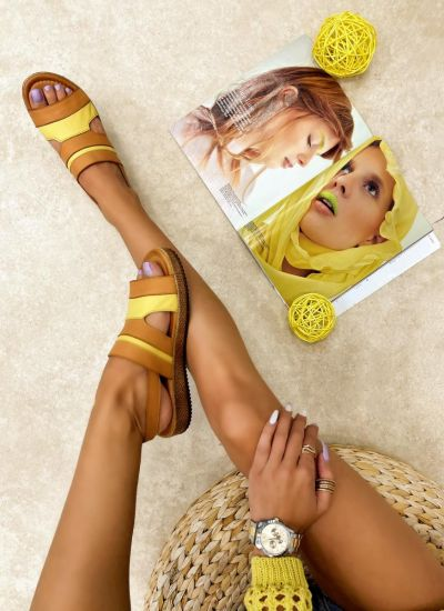 Leather sandals CIARIA - YELLOW