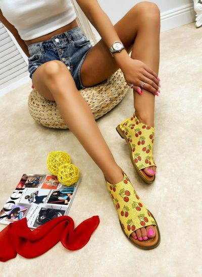 Leather sandals NOEMY - YELLOW