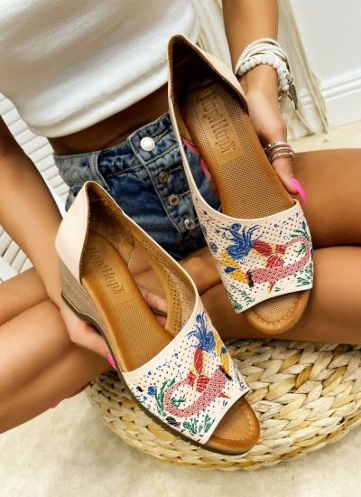 Leather sandals LILOU - ROSE