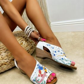 Leather sandals LILOU - WHITE