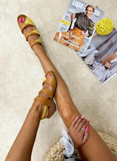 Leather sandals LAYAN - YELLOW