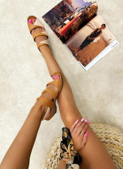 Leather sandals LAYAN - ROSE