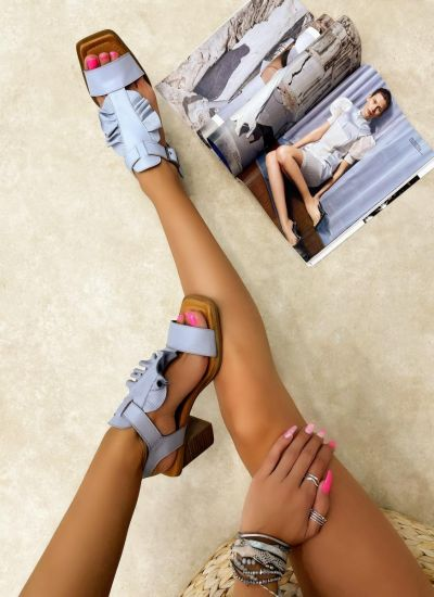 Leather sandals ROXY - BLUE