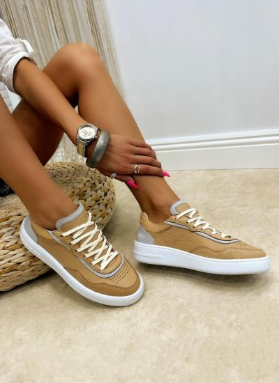 Leather sneakers LAINA - BEIGE
