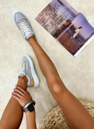 Leather sneakers LAINA - GREY