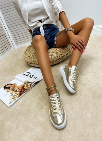 Leather sneakers LAINA - GOLD
