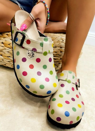 Patterned women clogs DOTTED - BEIGE