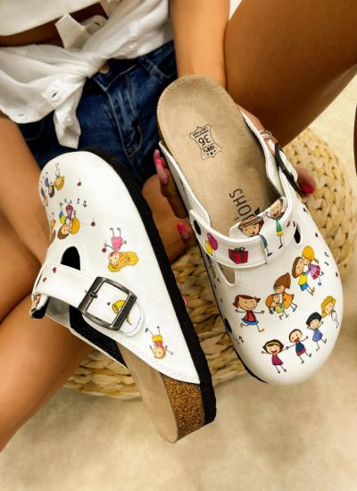 Patterned women clogs KIDS TIME - WHITE