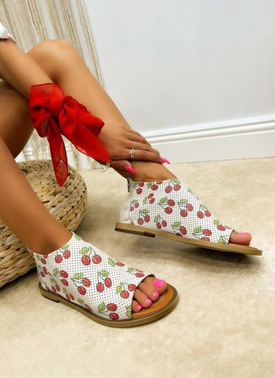 Leather sandals NOEMY - WHITE