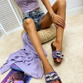 Leather slippers MANALI - VIOLET