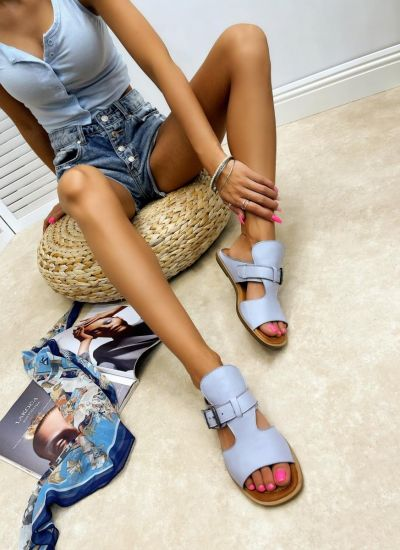 Leather slippers ALLIE - BLUE