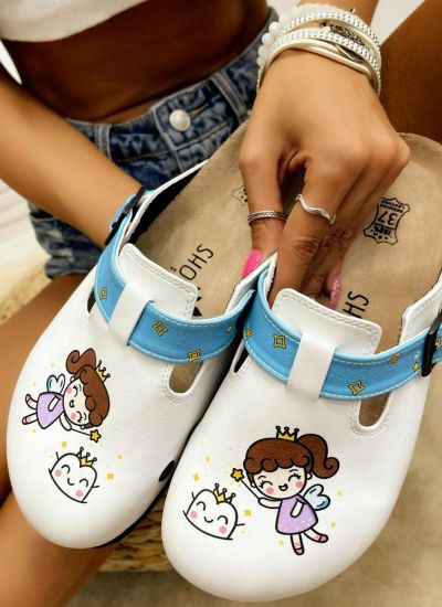 Patterned women clogs THE GOOD FAIRY - WHITE