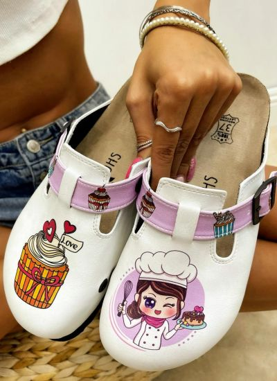 Patterned women clogs COOK - WHITE