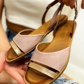Leather sandals TAIBA - ROSE