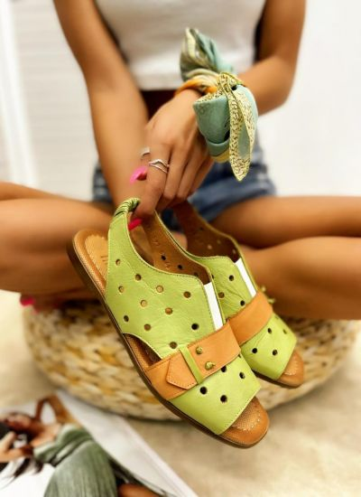 Leather sandals REIA - GREEN