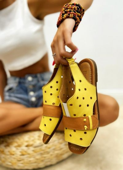Leather sandals REIA - YELLOW
