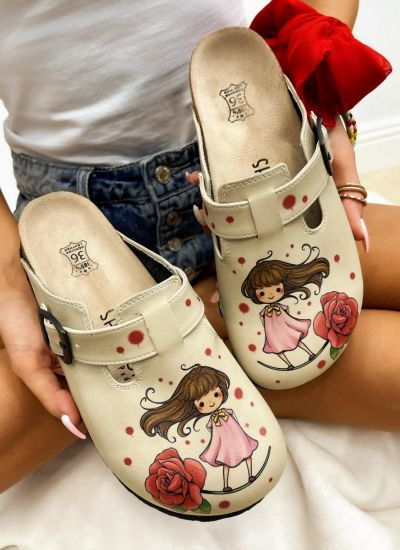 Patterned women clogs GIRL AND ROSE - BEIGE