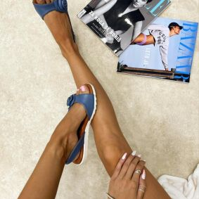 Leather sandals LILY - BLUE