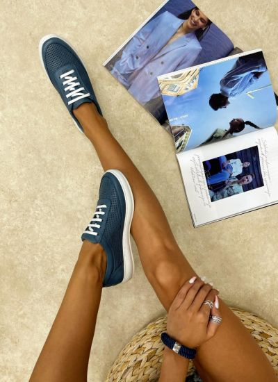 Leather sneakers LAKE - BLUE
